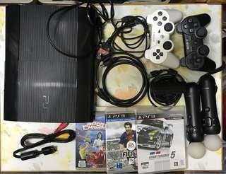 PS3 主機 + 兩手掣 + 三games