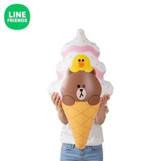 (正品)Line Friends 熊大莎莉雪糕造型吹氣水泡
