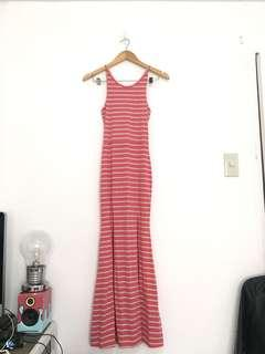 Folded and Hung Pink Gray Striped Maxi Dress