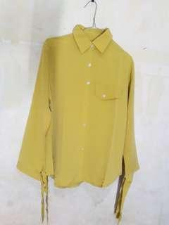 Blouse lengan pita lemon