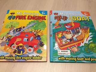 Amazing Pop Up Books Boat and Fire Engine