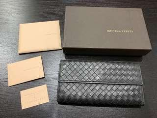 BottegaVeneta BV 經典皮革手工編織釦式機能多卡零錢長夾 黑色