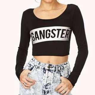 Forever 21 gangster cropped top wave party sexy rock badass hologram 黑色露腰貼身上衣 性感
