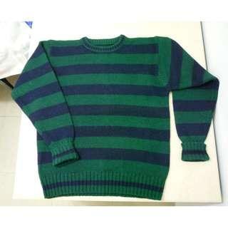 男裝 間條紋 過頭笠 圓領厚身羊毛冷衫 外套冷衫 褸 綠藍 或 紅藍色 (2擇1)