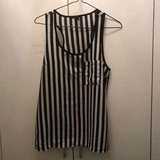 Forever 21 see through black white striped chiffon top tanks 黑白直條雪紡背⼂乛⼂⼂