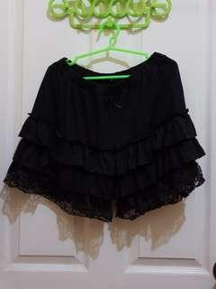Black Shorts with Ruffles
