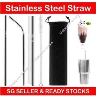 Stainless Steel Straws for Tumblers Cups Mugs - Reusable Metal Drinking Straw with Cleaning Brush