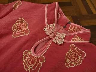 Flare Bottom Pink Floral Cheongsam #MMAR18