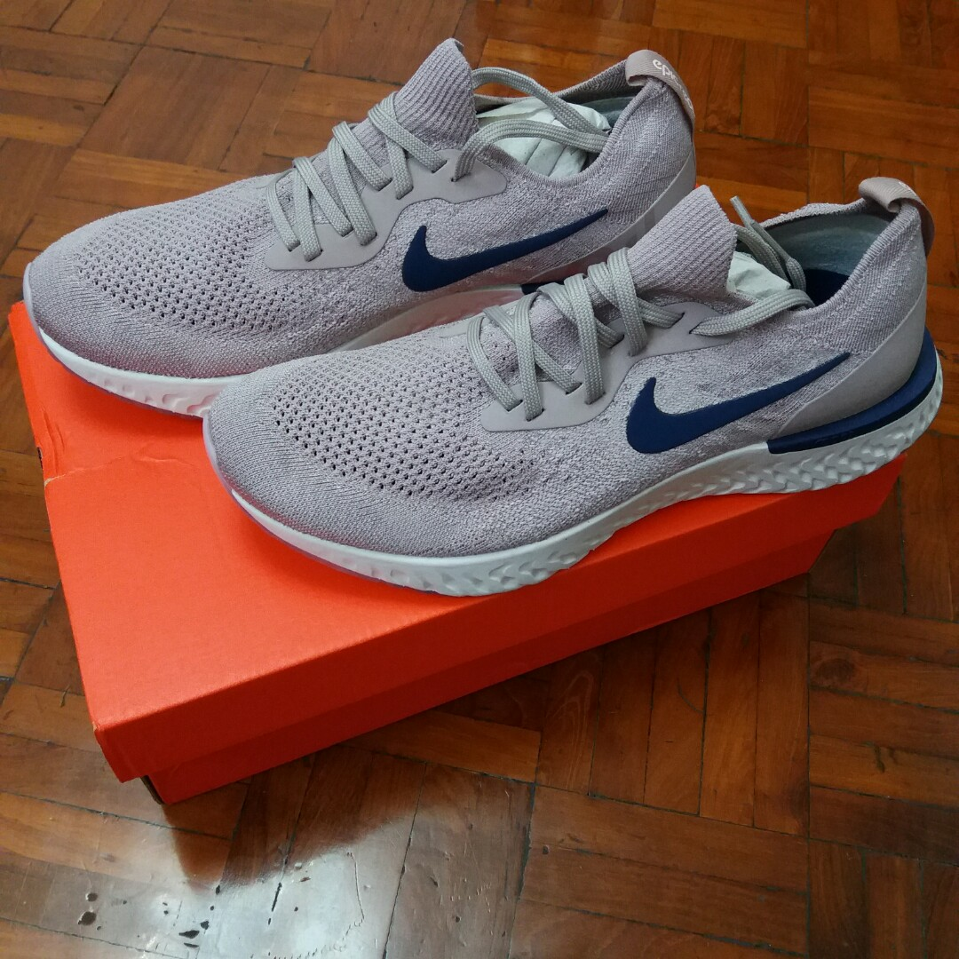 best service b43c5 e4adf 全新Nike Epic React Flyknit diffused taupe blue void (Mens US9) 暗粉紅色, Men s  Fashion, Men s Footwear on Carousell