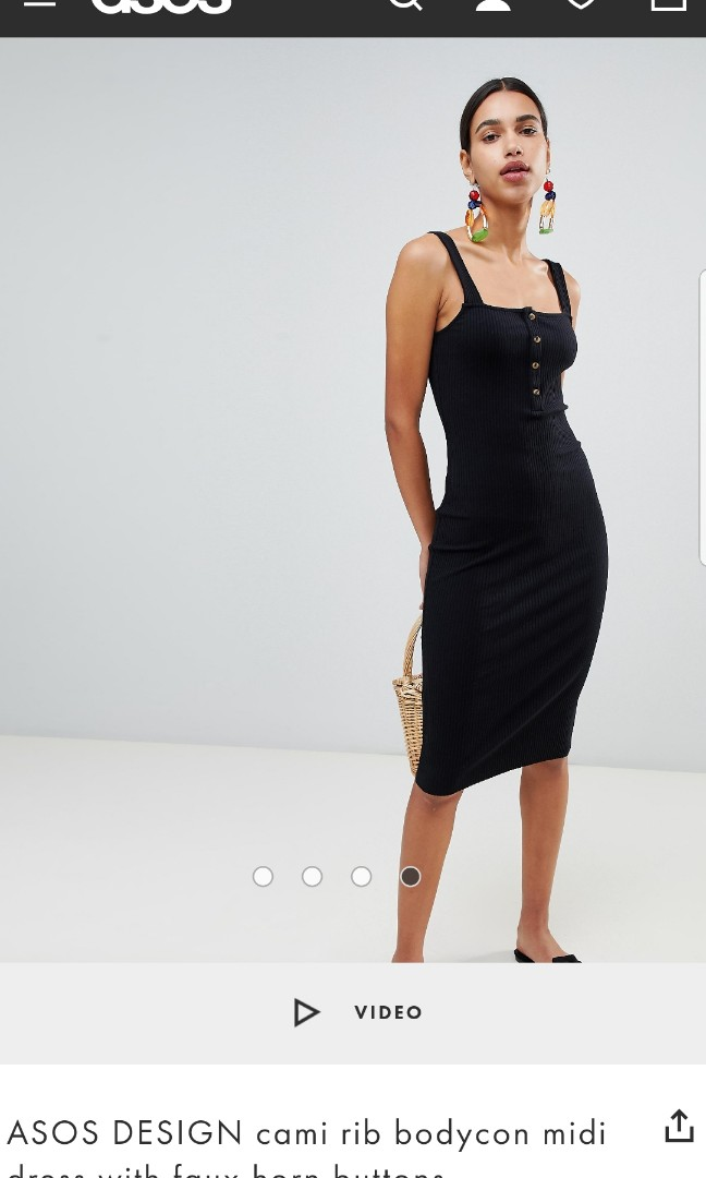 0bd316842e87 ASOS DESIGN cami rib bodycon midi dress with faux horn buttons, Women's  Fashion, Clothes, Dresses & Skirts on Carousell