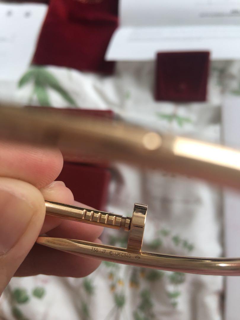 Authentic Cartier Juste Un Clou size 17 Rose Gold