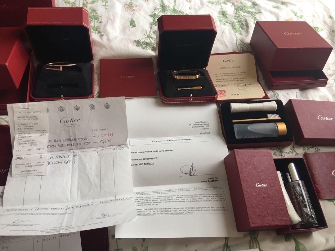 Authentic Cartier Love Bracelet size 18 Yellow gold Complete receipt