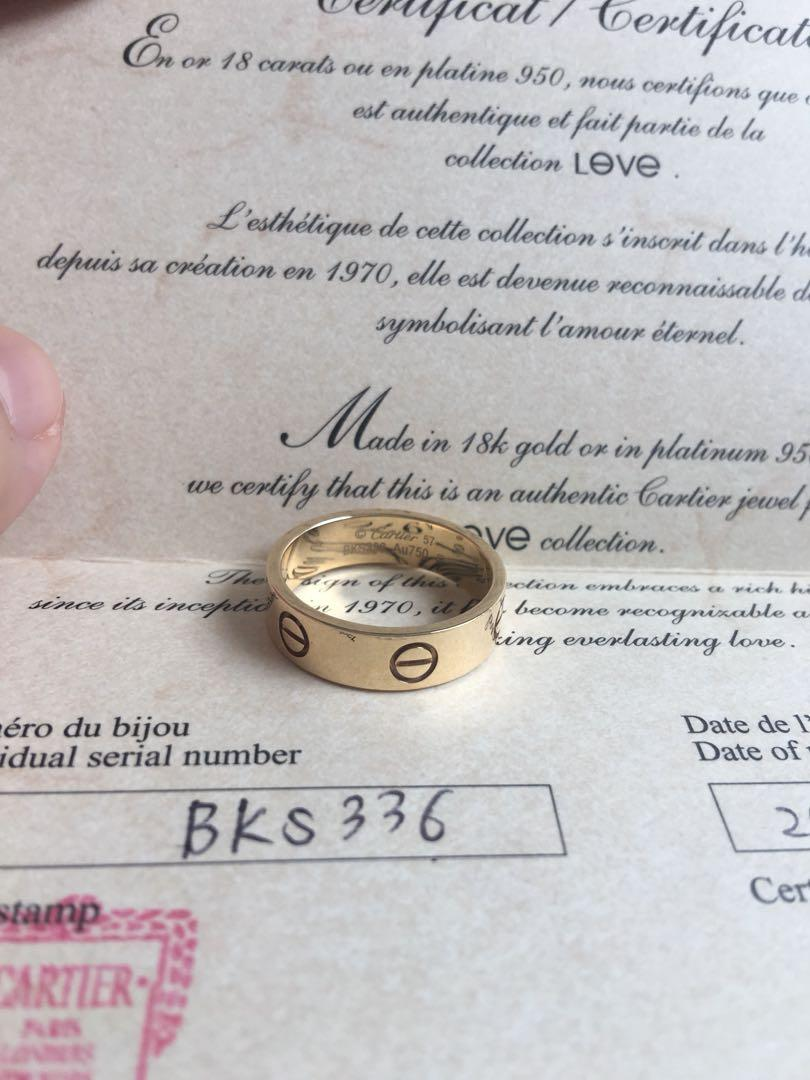 Authentic Cartier Love Ring size 57 Yellow gold Complete receipt