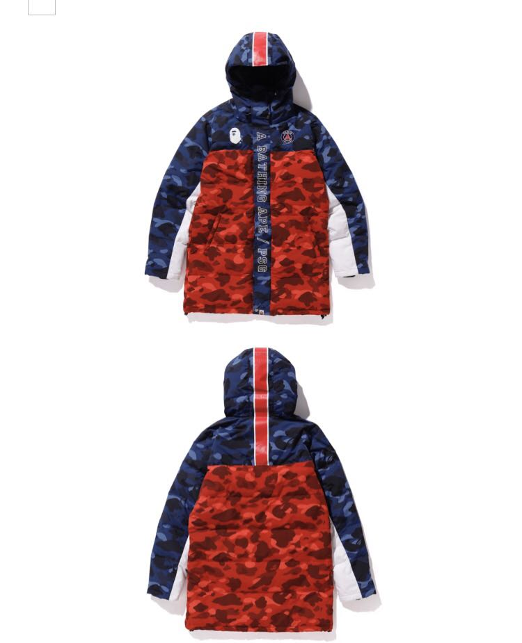 5004d843 Bape x PSG long down jacket, Men's Fashion, Clothes, Outerwear on ...