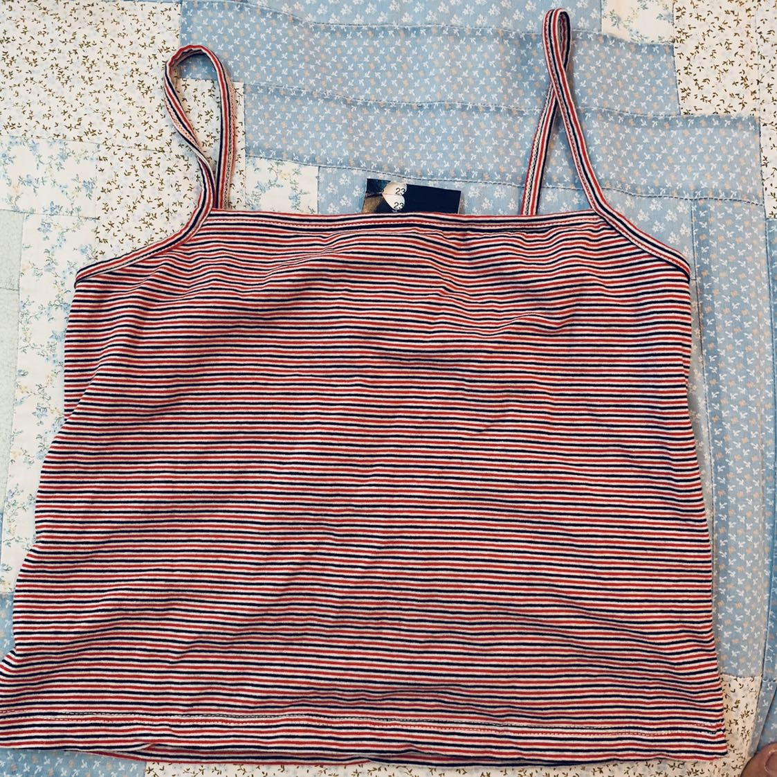 a37a276ec2532c Bnwt brandy Melville red navy blue and white striped Faye square ...