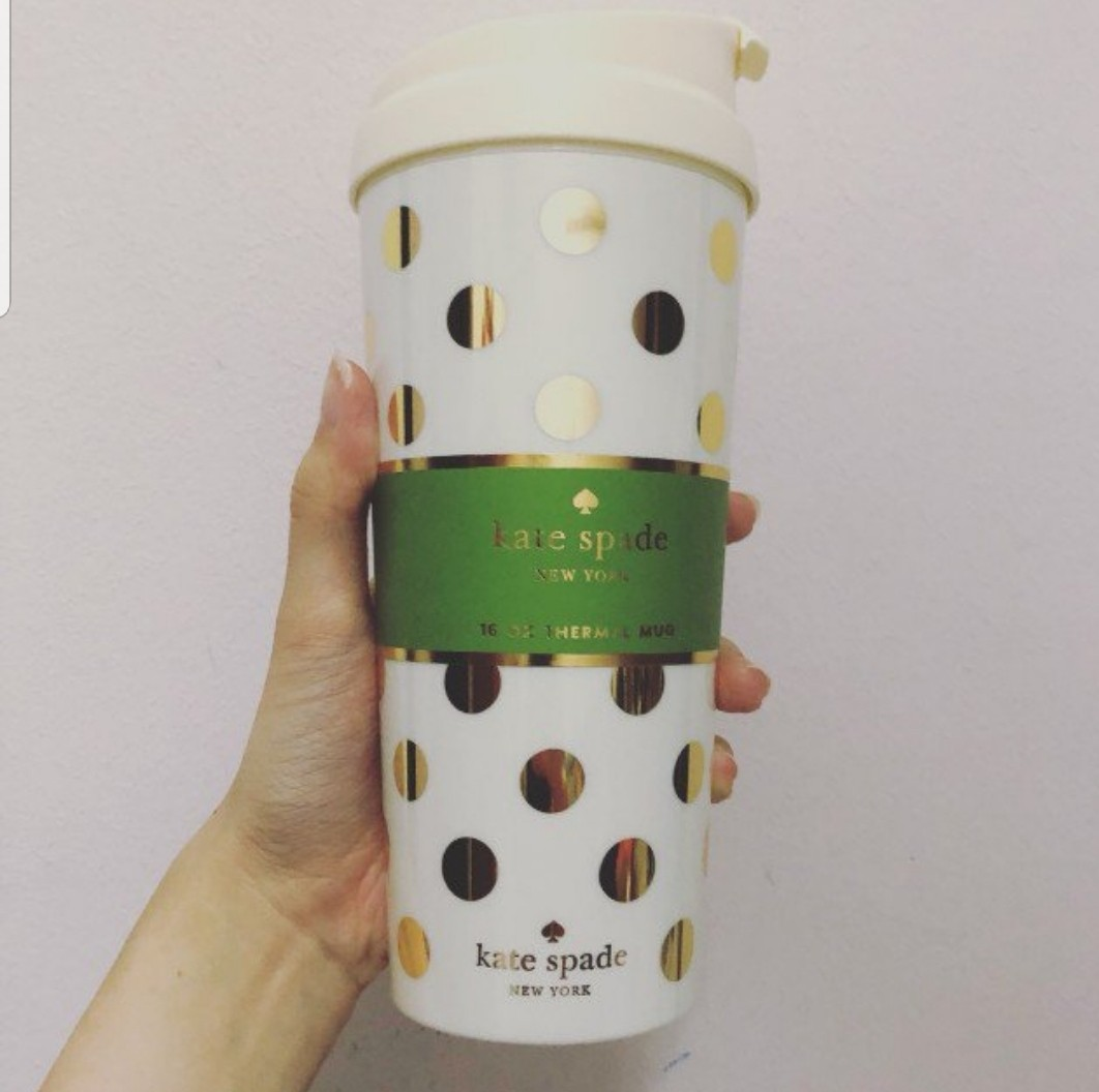 4868a845ed0 Brand new Kate Spade tumbler/thermal mug with gold polka dots, Luxury,  Accessories, Others on Carousell