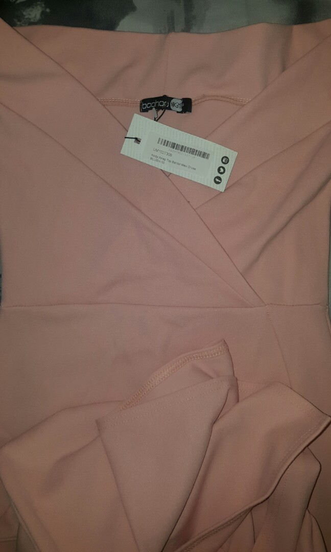 bb5b8d2ea06c4 Brand new with tags BooHoo Wrap Top Pink Bardot Maxi Dress Gown ...
