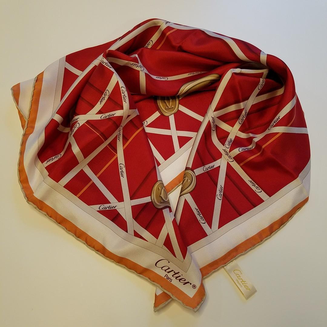 Cartier 100% Red Silk Scarf