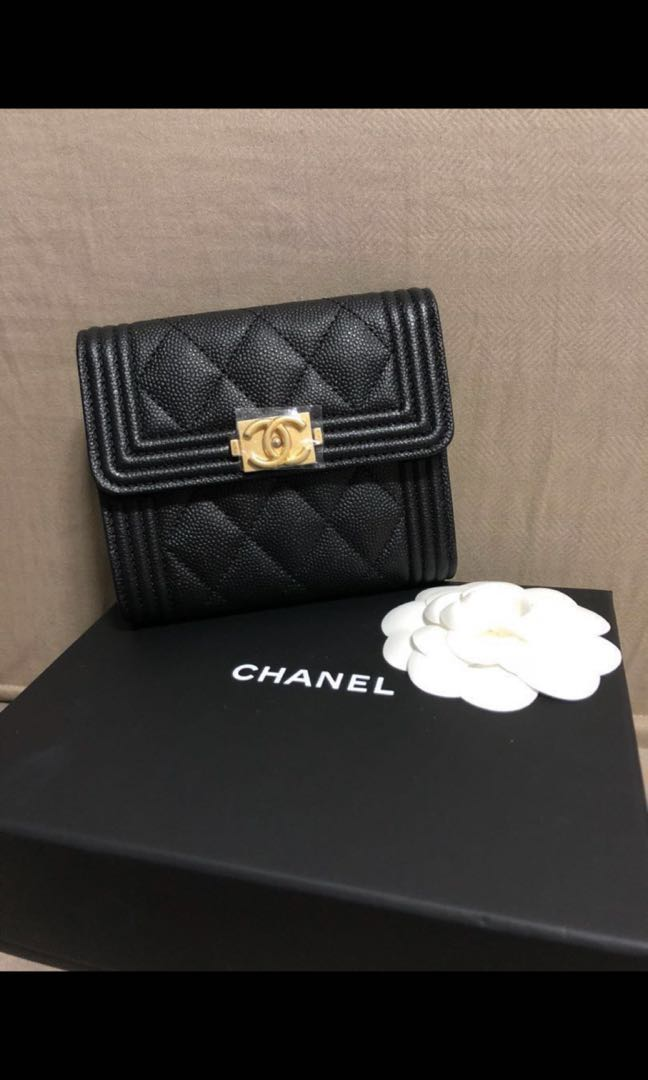 85eb771029f7e9 Chanel BOY short caviar wallet, Luxury, Bags & Wallets, Wallets on Carousell
