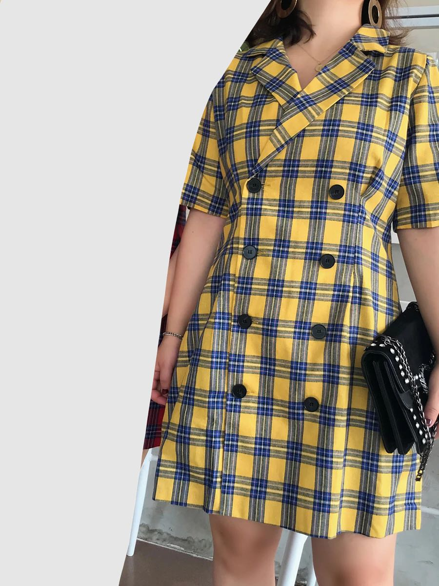 02d480f35b14 Checkered blazer short sleeved Dress, Women's Fashion, Clothes, Dresses &  Skirts on Carousell