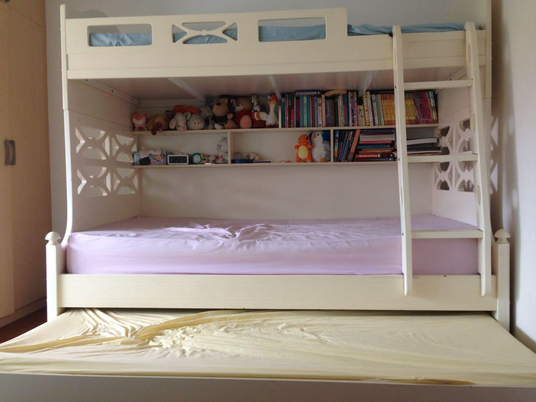 Double Bunk Bed With Pull Out Attachment Furniture Beds Mattresses On Carousell