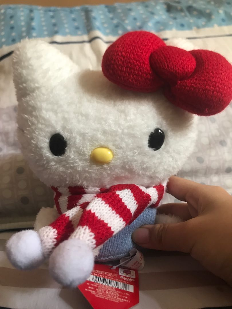 6fb35b4fd Fluffy Hello Kitty Plush wearing red scarf, Toys & Games, Stuffed ...