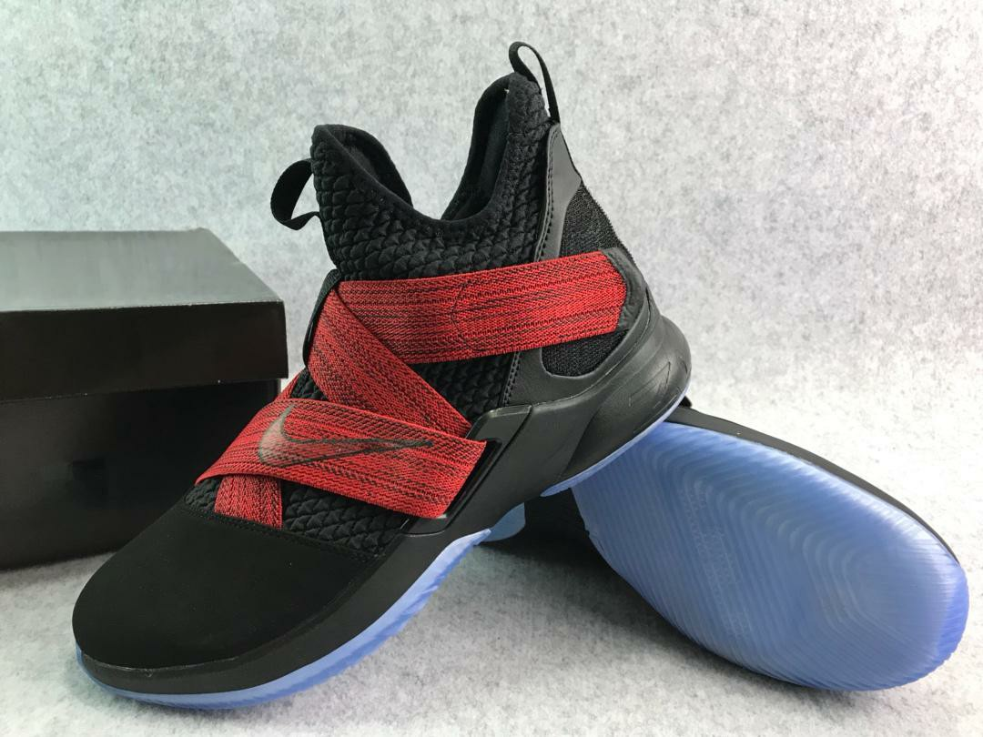 28be923ce52a0 Hot Sale  Nike Lebron Soldier 12 Xll Black Red Basketball Shoes ...