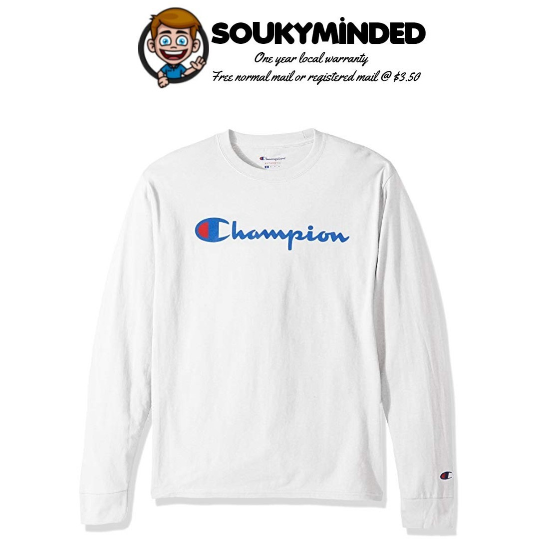 2767df1a IN-STOCK] Champion LIFE Men's Cotton Long Sleeve Tee, Men's Fashion ...