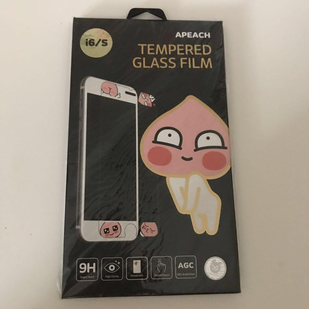 Kakao Friends Apeach Tempered Glass for iPhone 6/6S