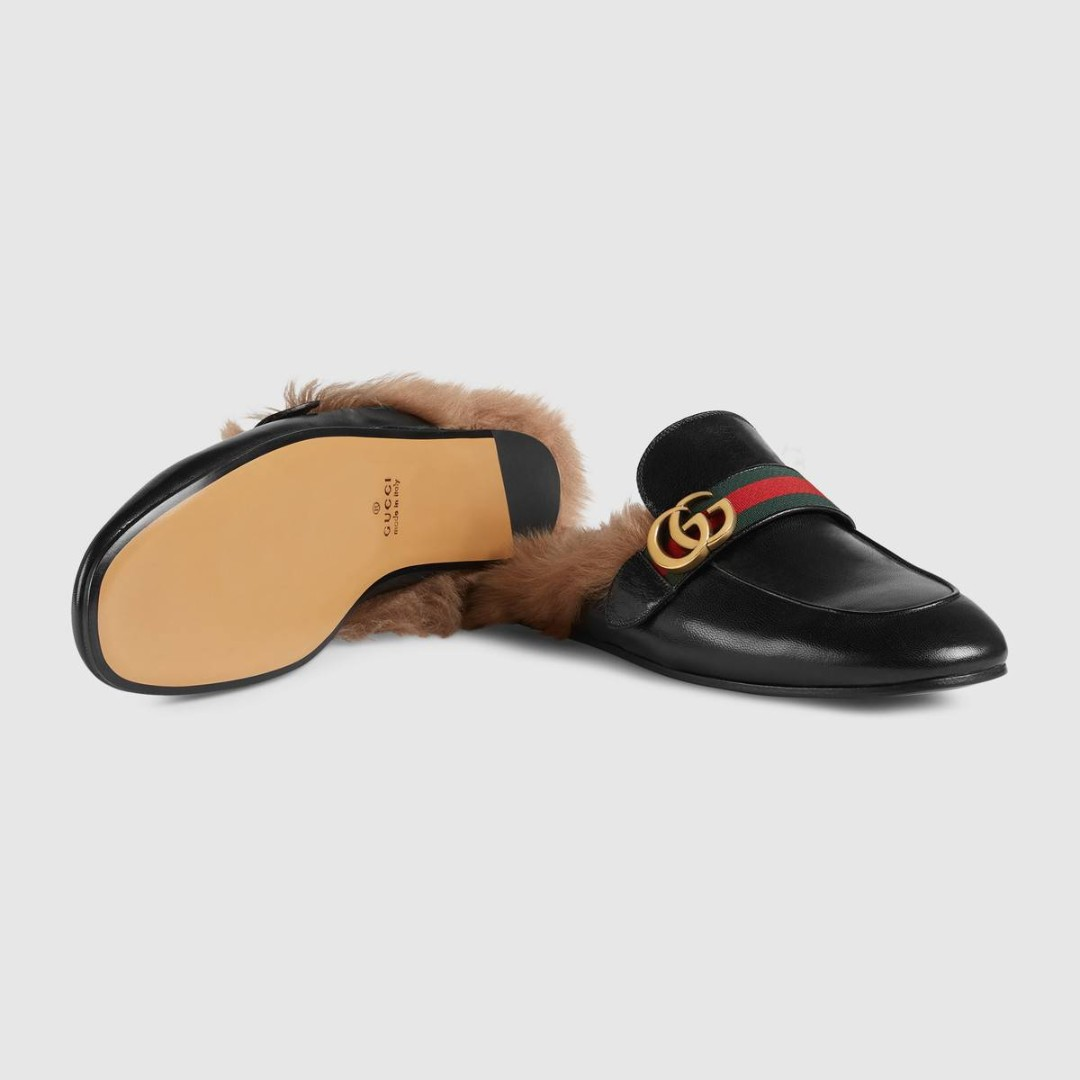 afe6d5a591e71f Men s Princetown Double G leather slipper with Wool