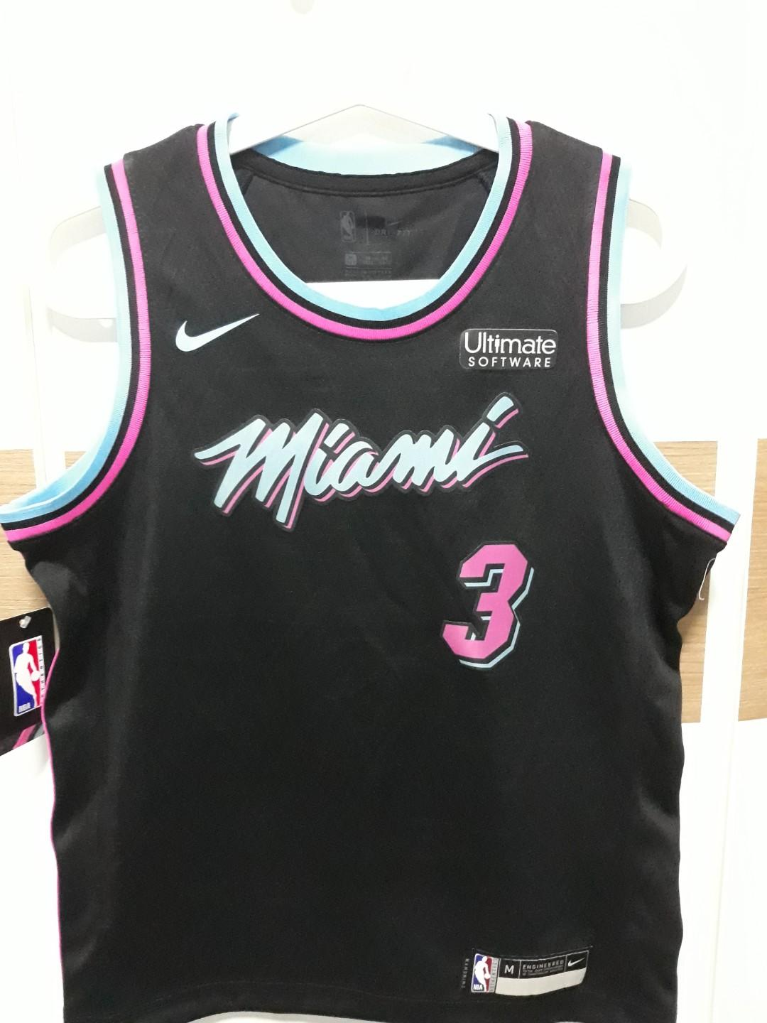 free shipping cb594 fd082 Miami Heat Vice Night Swingman Jersey. Dwyane Wade 3, Sports ...