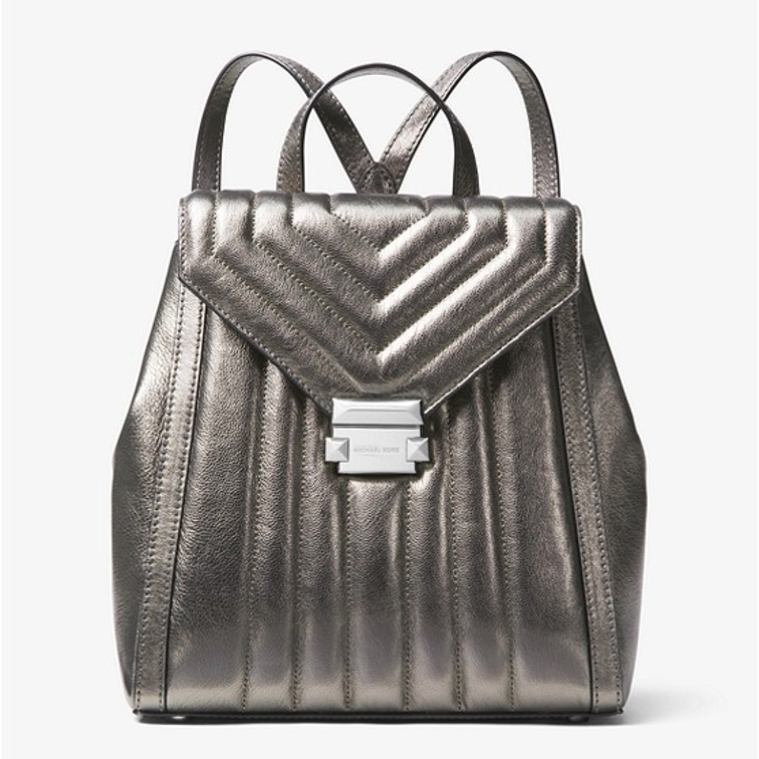 b9fa6d9a10a9 Michael Kors Whitney Quilted Metallic Leather Backpack, Women's ...