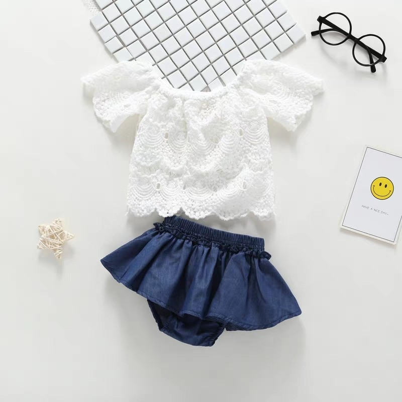 1c8ced2bf9c3 PO  Trendy lacy top with ruffle skirt shorts baby girl set