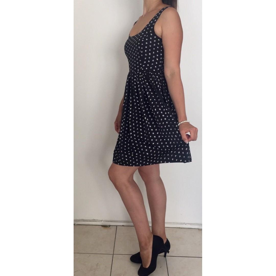PORTMANS Black White Polka Dot Fit & Flare Dress Sz 6