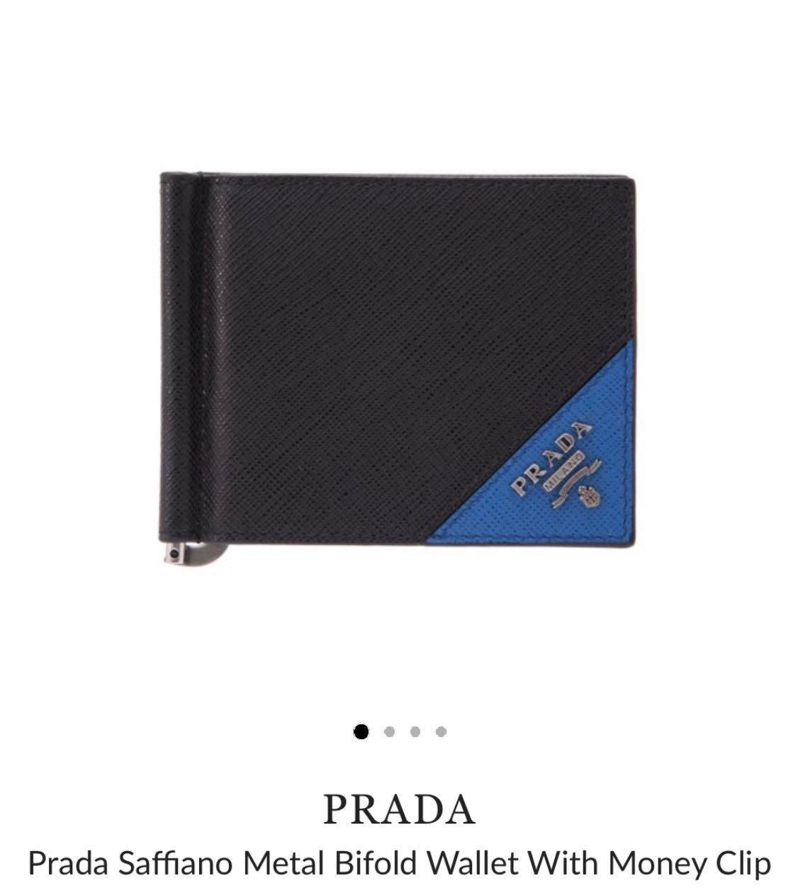 26113866db912f Prada Saffiano Metal Bifold Wallet With Money Clip, Luxury, Bags ...