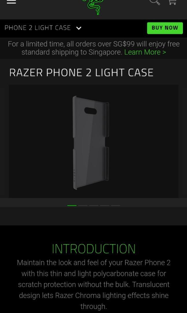 RAZER PHONE 2 LIGHT CASE [Authentic]