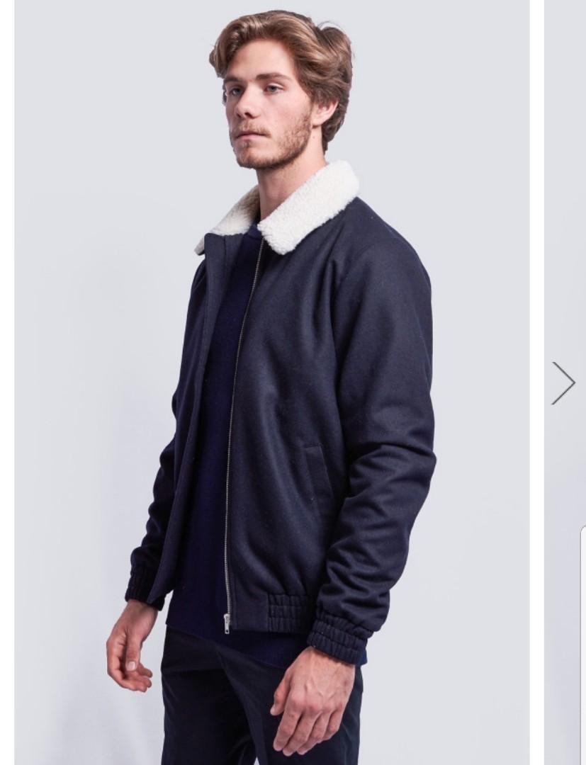Roger David / RDX navy matty faux shearling bomber jacket