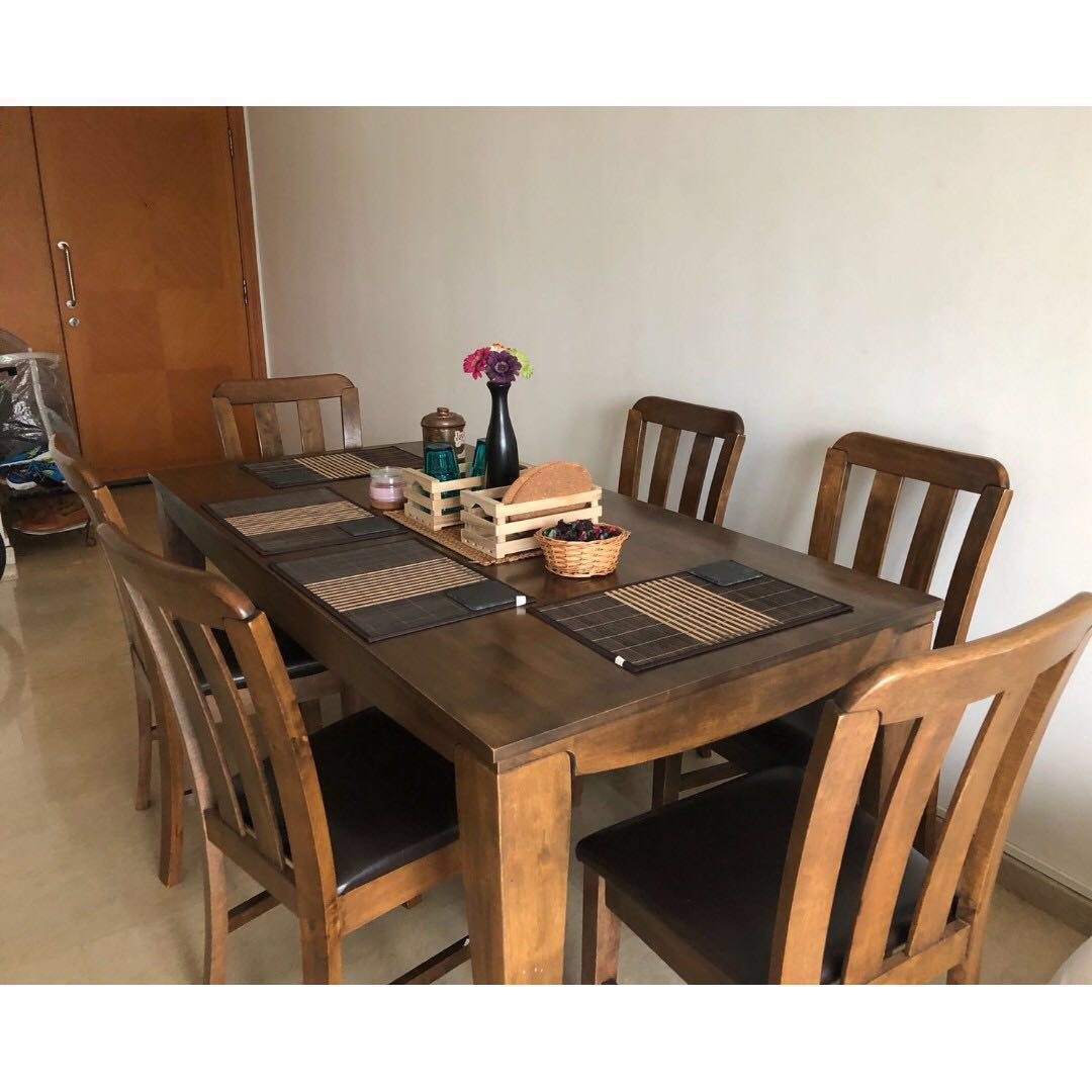 Teak Wood 6 Seater Dining Table With Chairs Furniture Tables