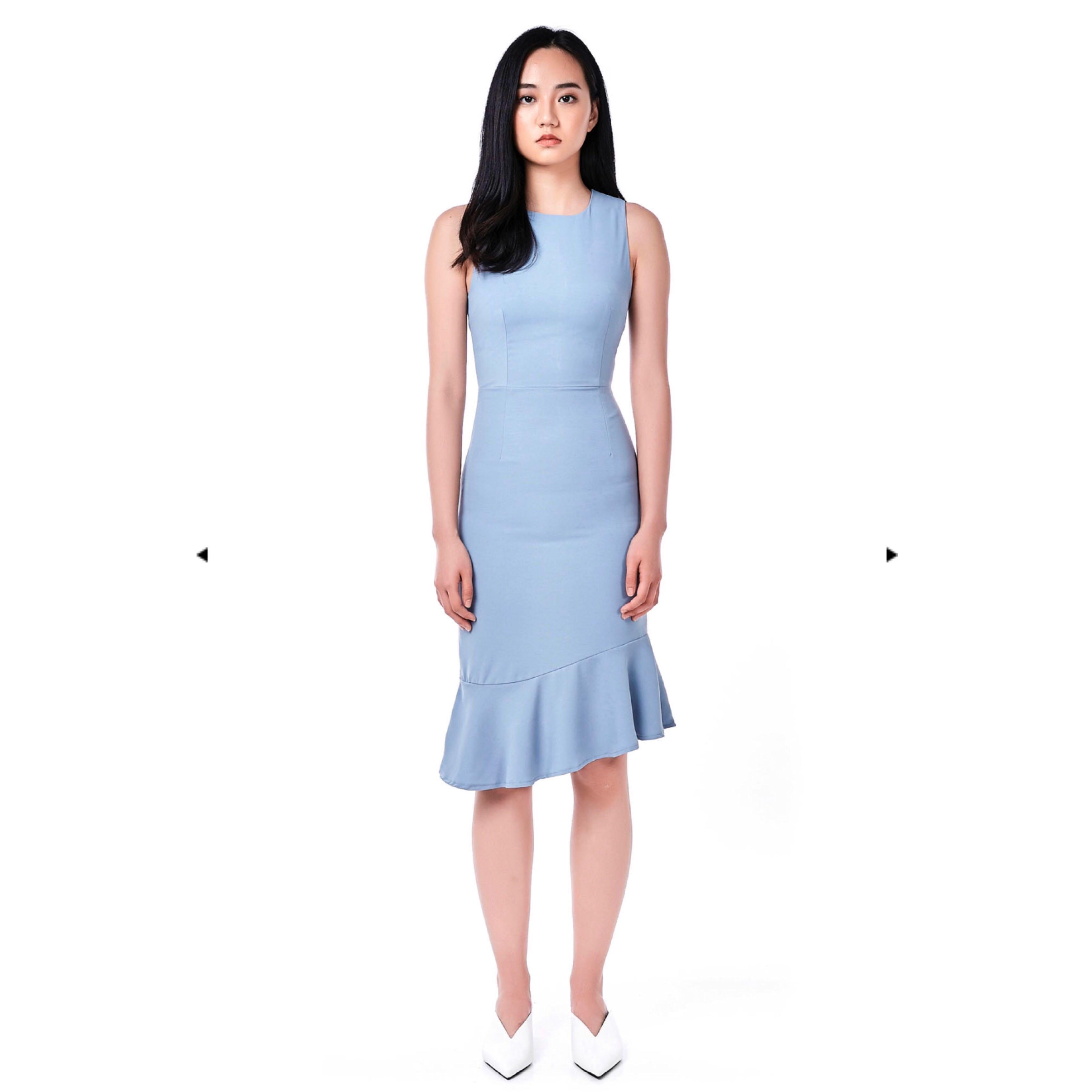 fd5edfad TEM phyllisa ruffle hem midi dress (size S, blue), Women's Fashion ...