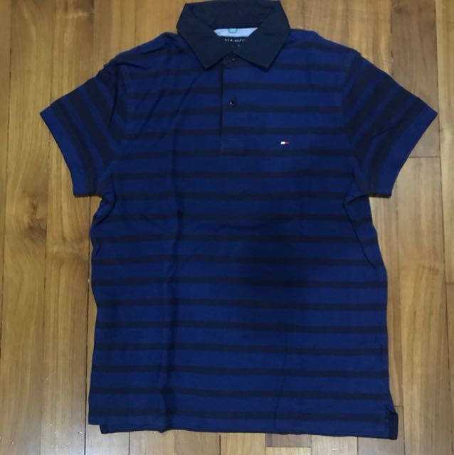 b257cc347 Tommy Hilfiger Blue Striped Polo Small, Men's Fashion, Clothes, Tops ...