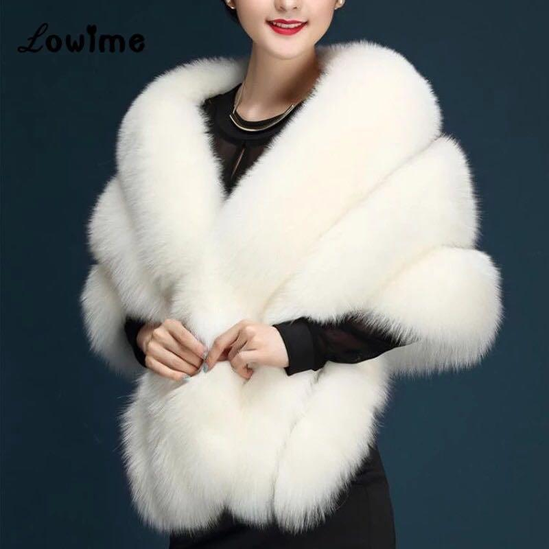 White Fur Stole >> White Faux Fur Stole Shawl High Quality Bnwt Women S