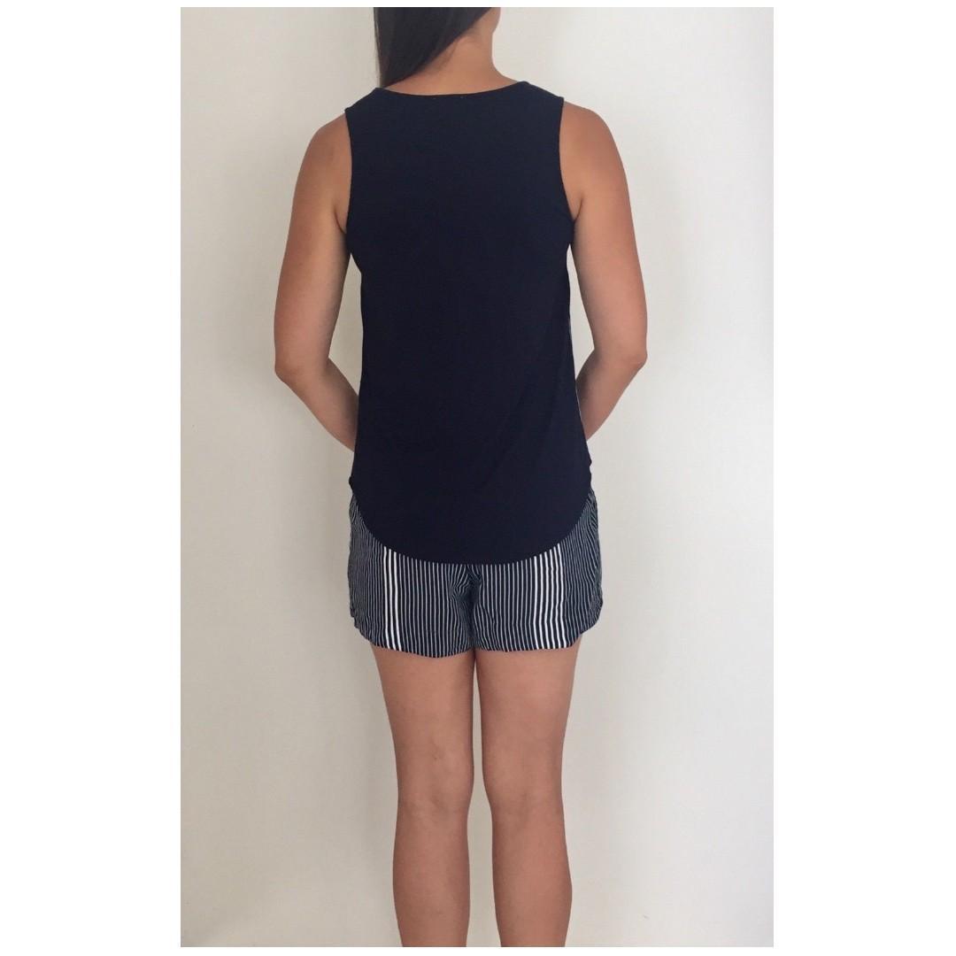 WITCHERY Navy Blue White Striped Singlet & Shorts 2 Piece Set Sz 8-10