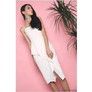 Hollyhoque adriana ruffles shift dress white
