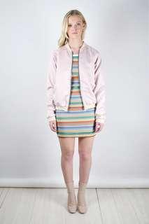 Motel Pink Satin Bomber Jacket