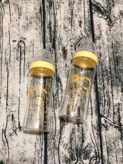 🚚 🔅全新🔅黃色小鴨PIYOPIYO寬口玻璃奶瓶*2