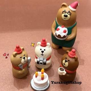 Decole concombre 18聖誕擺設 三只小熊連聖誕蛋糕 set