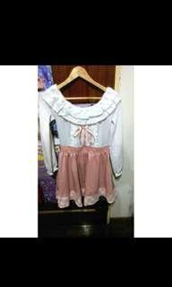 🚚 全新Liz Lisa專櫃副牌兩穿可一字領洋裝