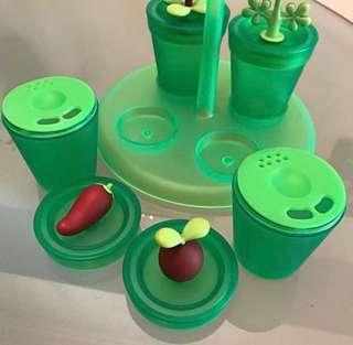 Authentic Alessi Spices, Salt and Pepper Set and stand