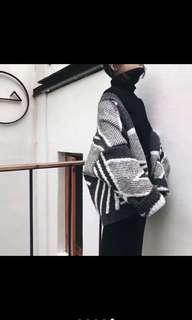 秋冬幾何寬鬆拼色條紋針織毛衣外套