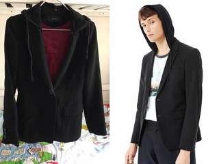 外貿 外國品牌J.rykiel黑色 薄身型格有帽長袖修腰 顯瘦 西裝外套 男裝 類G2000款(M)